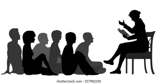 Illustrated silhouettes of a female teacher reading a story to a group of adults sitting on the floor