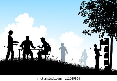 Illustrated silhouettes of workers in a meadow office