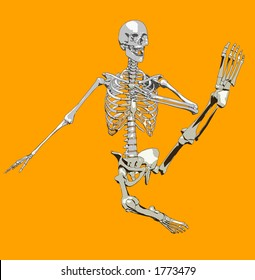 A illustrated skeleton in a pose.