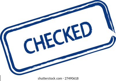 An illustrated stamp that says that something has been checked. All on white background.