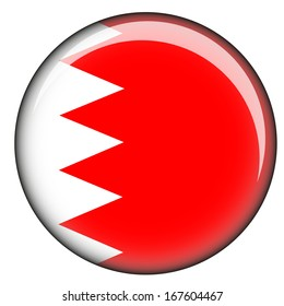 Illustrated World Flag Button with the flag of Bahrain