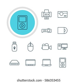 Illustration Of 12 Accessory Icons. Editable Pack Of Monitor, Photography, Cursor Controller And Other Elements.