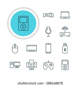Illustration Of 12 Accessory Icons. Editable Pack Of PC, Smartphone, Floodlight And Other Elements.