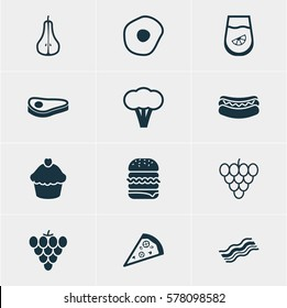 Illustration Of 12 Cooking Icons. Editable Pack Of Ham, Pizzeria, Duchess And Other Elements.