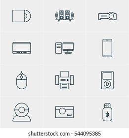 Illustration Of 12 Device Icons. Editable Pack Of Usb Card, Cursor Controller, Photography And Other Elements.