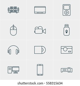 Illustration Of 12 Hardware Icons. Editable Pack Of Loudspeaker, Smartphone, Cursor Controller And Other Elements.