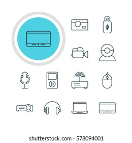 Illustration Of 12 Hardware Icons. Editable Pack Of Computer, Video Chat, Cursor Controller And Other Elements.