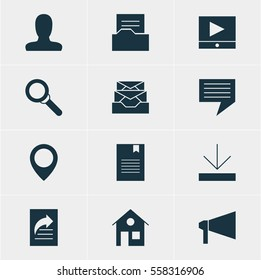Illustration Of 12 Web Icons. Editable Pack Of Account, Upload, Document Transfer And Other Elements.