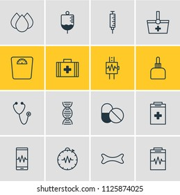 illustration of 16 health icons line style. Editable set of serum, cardiogram, cardiogram signals and other icon elements.