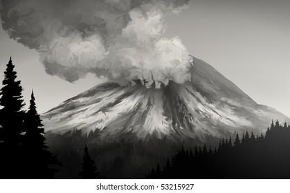 an illustration of the 1980 eruption of Mt. St. Helens