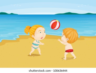 Illustration of 2 children at a beach - EPS VECTOR format also available in my portfolio.