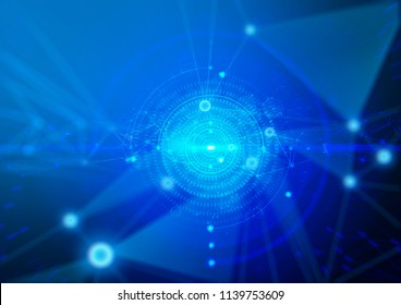 illustration 3d abstract internet technology blue point connect to network background