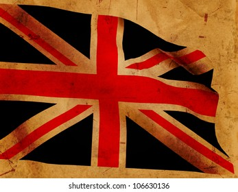 Illustration of 3d British flag over old paper