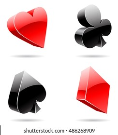 illustration of 3d glossy playing card suits