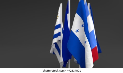 illustration 3d render, illustration 3d render, Flags of the five countries of the central america, with the leadership of honduras