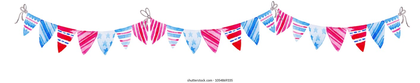 Illustration for for 4th of July. Watercolor Bunting Flags. Celebration of American Independence Day.