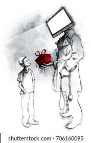 Illustration about digital dangers and internet safety for children.