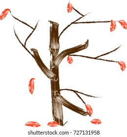 illustration of abstract autumn tree digitally hand drawn on white background