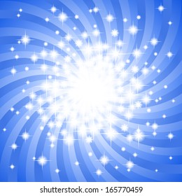 illustration of a abstract blue star background