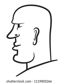 Illustration of the abstract cartoon human profile head