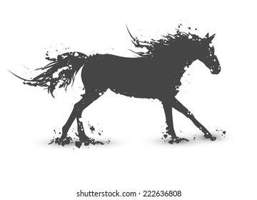 Illustration of Abstract Ink Splashes Horse In Motion Over White Background