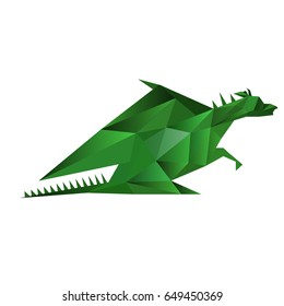 Illustration of abstract origami green dragon isolated on white background