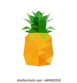 Illustration of abstract origami pineapple isolated on white background