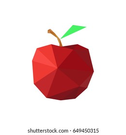 Illustration of abstract origami red apple isolated on white background