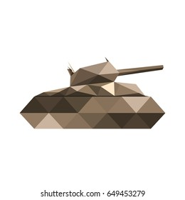 Illustration of abstract origami tank isolated on white background
