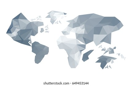 Illustration of abstract origami world map isolated on white background