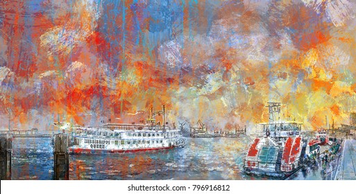 Illustration, abstract Painting of the landing bridges in Hamburg, Germany
