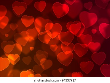 illustration of abstract romantic background with floating red hearts