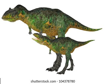 Illustration of an adult and a young Aucasaurus (dinosaur species) isolated on a white background