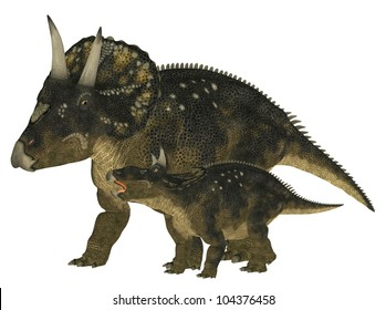 Illustration of an adult and a young Nedoceratops (dinosaur species formerly known as Diceratops) isolated on a white background