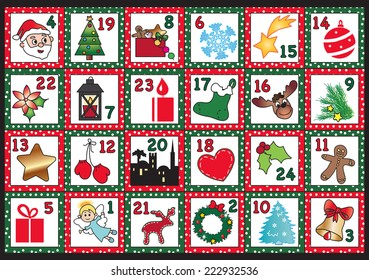 Illustration for advent calendar with funny icons