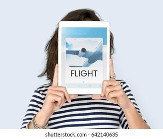 Illustration of air ticket booking for travel destination on digital tablet