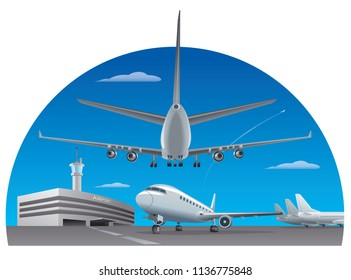 illustration of airport building with airplanes
