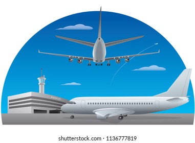 illustration of airport building and airplanes