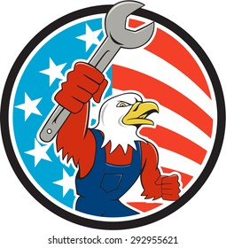 Illustration of a american bald eagle mechanic holding spanner looking to the side et inside circle with usa american stars and stripes flag in the background done in cartoon style.