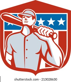 Illustration of a american baseball player batter hitter holding bat on shoulder set inside shield crest with stars and stripes in the background done in retro style.