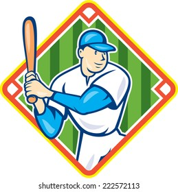 Illustration of an american baseball player holding bat batting set inside diamond shape on isolated background done in cartoon style.