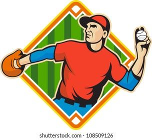 Illustration of a american baseball player outfielder throwing ball isolated on white background set inside diamond field shape.