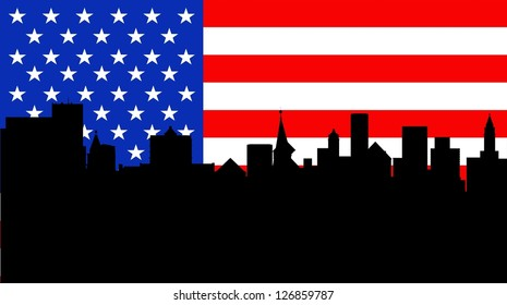 Illustration of an American flag with buildings
