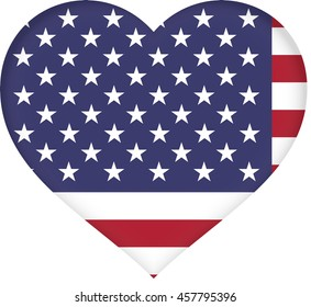 Illustration of the American Flag with a heart shape