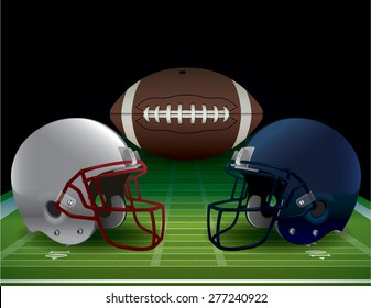 An illustration of an American Football field, helmets, and ball.