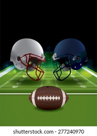 An illustration of American Football helmets clashing on a field with a ball.