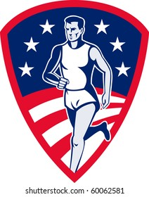 illustration of an American Marathon athlete sports runner with stars and stripes and set in shield done in retro style.