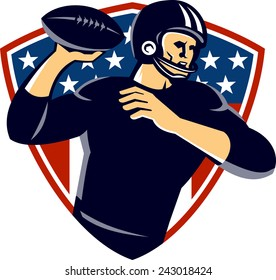 Illustration of an american quarterback football player passing ball set inside shield with stars and stripes in the background done in retro style.