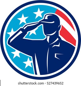 Illustration of an american soldier serviceman silhouette saluting set inside circle with usa flag stars and stripes in the background done in retro style.