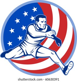 illustration of an American track and field athlete jumping with stars and stripes.